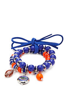 accessory PLAYS Silver-Tone Florida Gators Two Row Beaded Charm Bracelet Set