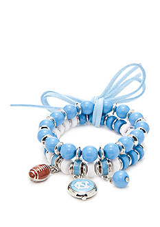 accessory PLAYS Silver-Tone UNC Tar Heels Two Row Beaded Charm Bracelet Set