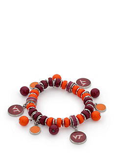 accessory PLAYS Silver-Tone Virginia Tech Hokies Bead Shaky Stretch Bracelet