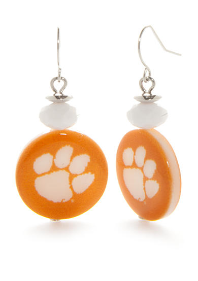 accessory PLAYS® Silver-Tone Clemson Tigers Drop Earrings