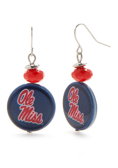 accessory PLAYS® Silver-Tone Ole Miss Rebels Bead With Shell Drop Earrings
