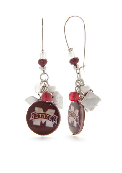 accessory PLAYS® Silver-Tone Mississippi State Bulldogs Long Drop Earrings