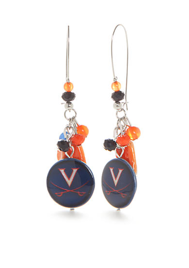 accessory PLAYS® Silver-Tone Virginia Cavaliers Long Cluster Drop Earrings