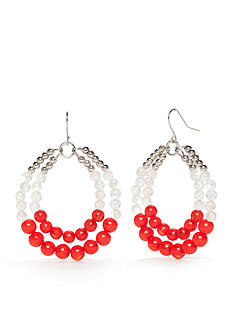 accessory PLAYS® Silver-Tone NC State Wolfpack Double Beaded Hoop Earrings