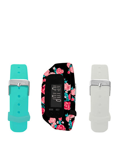 B FIT WATCH® Black Floral LCD Tracker Watch
