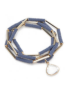 true Gold-Tone Blue Beaded 4-Piece Bracelet Set