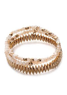 true Gold-Tone Multi Row Stretch Bracelet