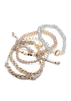true Gold-Tone 5-Piece Gray Beaded Bracelet Set