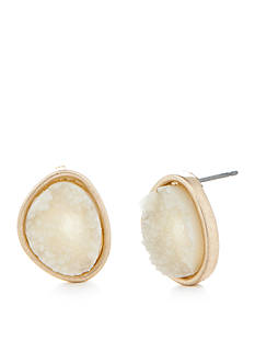 true Gold-Tone White Drusy Button Earrings