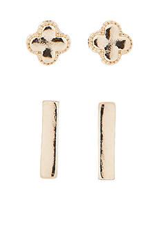 true Gold-Tone Duo Stud Earrings Set