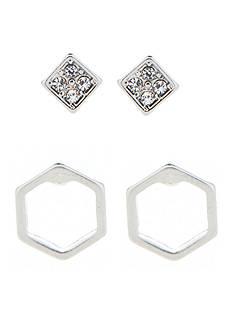 true Silver-Tone Geometric Duo Stud Earring Set