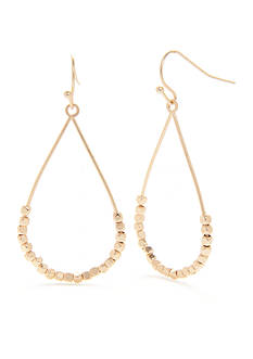 true Gold-Tone Beaded Teardrop Earrings