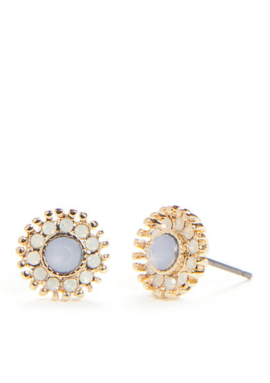 true Gold-Tone Blue Stud Earrings
