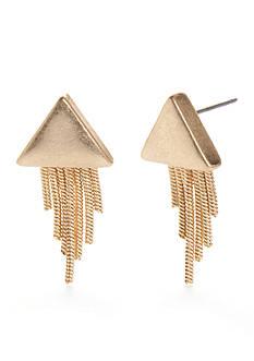 true Gold-Tone Triangle Fringe Earrings