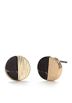 true Gold-Tone Half Moon Mini Button Earrings