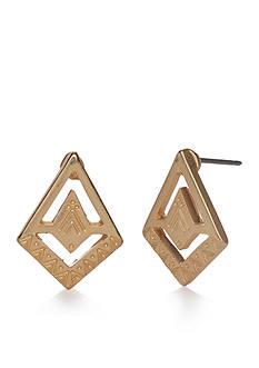 true Gold-Tone Tribal Button Earrings