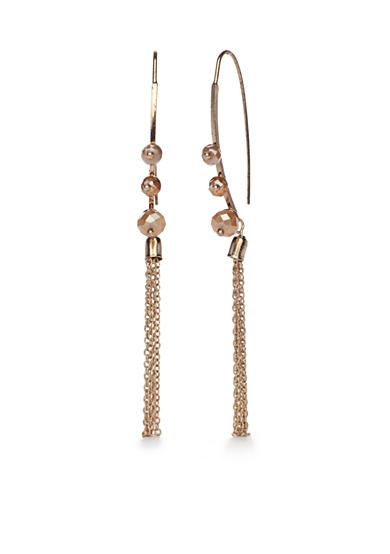 true Gold-Tone Beaded Tassel Elongated Drop Earrings