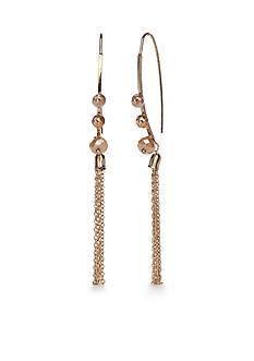 true Gold-Tone Beaded Tassel Elongated Drop Earrings