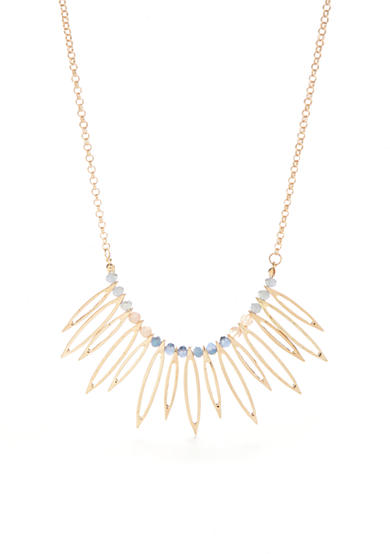 true Gold-Tone Open Fan Statement Necklace