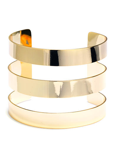 evie & emma Gold Over Fine Silver Plated Three Row Cuff Bracelet