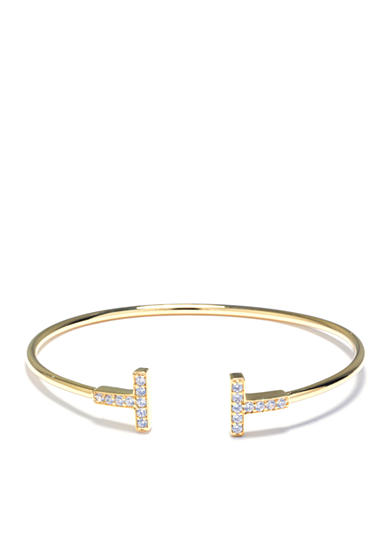 evie & emma Gold Over Fine Silver Plated Cubic Zirconia Double Bar Open Cuff Bracelet