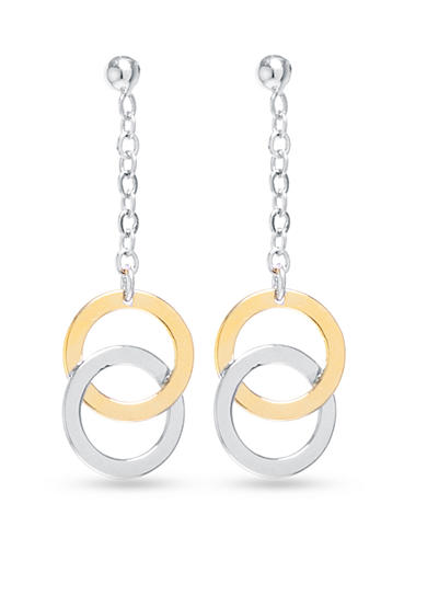 evie & emma Two-Tone Double Circle Linear Earrings