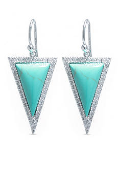 evie & emma Fine Silver Plated Turquoise and Cubic Zirconia Triangle Drop Earrings