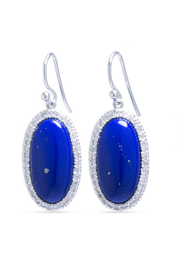 evie & emma Fine Silver Plated Oval Lapis and Cubic Zirconia Pave Drop Earrings