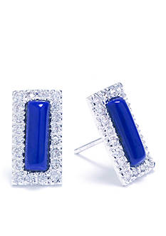 evie & emma Fine Silver Plated Lapis and Cubic Zirconia Pave Rectangular Stud Earrings