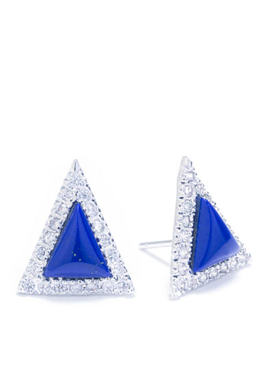 evie & emma Fine Silver Plated Lapis and Cubic Zirconia Pave Triangular Stud Earrings