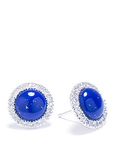 evie & emma Fine Silver Plated Lapis Round Stud Earrings