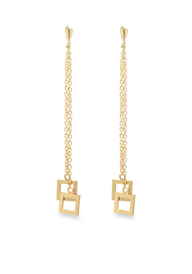 evie & emma Gold Over Fine Silver Plated Double Square Drop Earrings