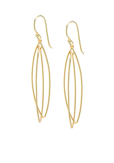 evie & emma Gold Over Fine Silver Plated Double Open Marquis Drop Earrings