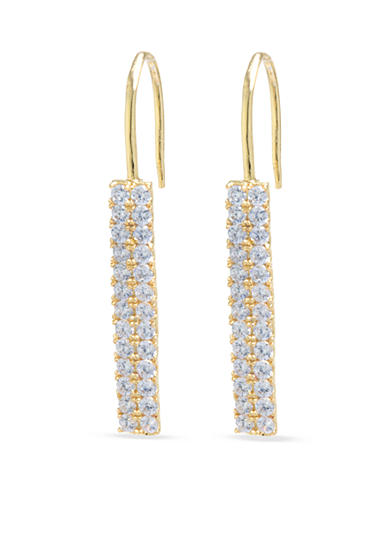evie & emma Gold Over Fine Silver Plate Cubic Zirconia Rectangular Drop Earrings