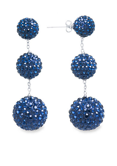 evie & emma Fine Silver Plated Dark Blue Crystal Pave Ball Drop Earrings