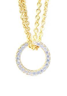 evie & emma Cubic Zirconia Open Circle Pendant Chain Necklace