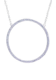 evie & emma Fine Silver Plated Open Circle Station Necklace