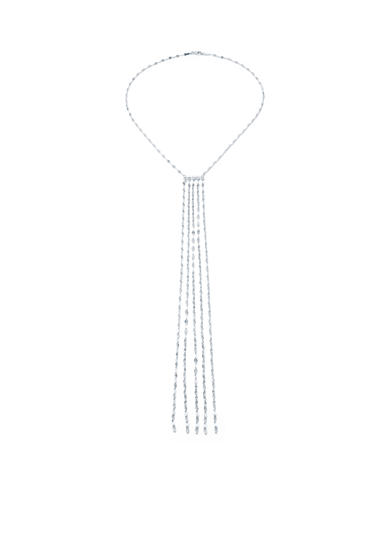 evie & emma Silver Plated Diamond Cut Tassel Necklace