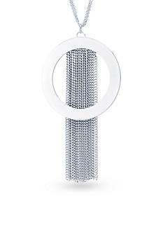 evie & emma Silver-Tone Multi Strand Open Circle Tassel Necklace