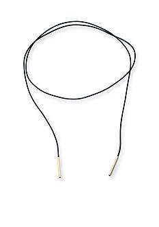 evie & emma Gold Over Fine Silver Plate Leather Lariat Adjustable Necklace