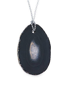 evie & emma Fine Silver Plated 36-in. Black Agate Slab Necklace