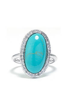 evie & emma Fine Silver Plated Turquoise Oval Ring