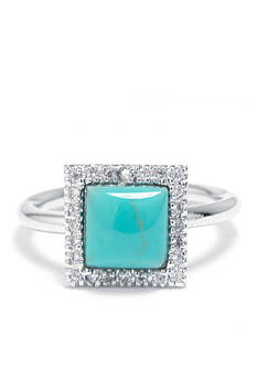 evie & emma Fine Silver Plated Turquoise Square Ring