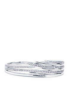evie & emma Fine Silver Plated And Cubic Zirconia Pave Multi Linear Double Finger Ring - Size 8