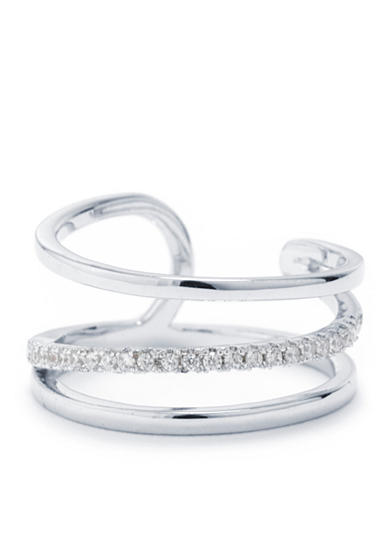 evie & emma Fine Silver Plated Cubic Zirconia Pave Curve Wrap Ring - Size 8