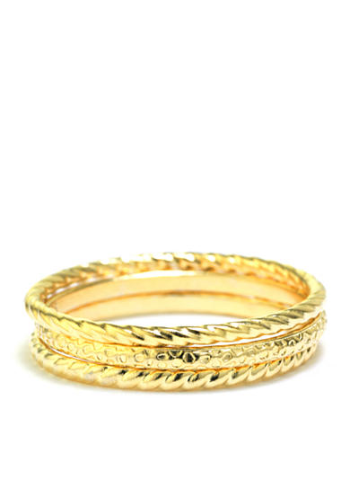 evie & emma Gold Plated Textured Trio Ring Set