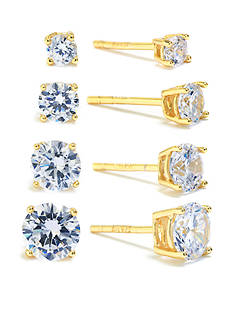 evie & emma Gold-Tone Over Sterling Silver 4 Pair Stud Earrings Set