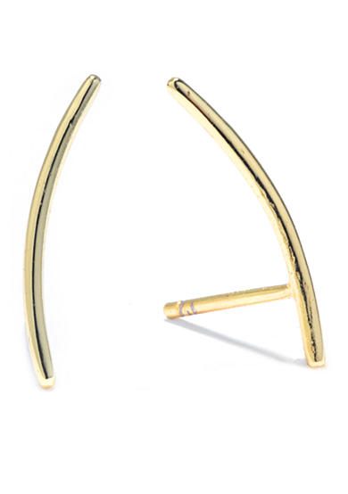 evie & emma Gold Over Sterling Silver Thin Curved Linear Earring