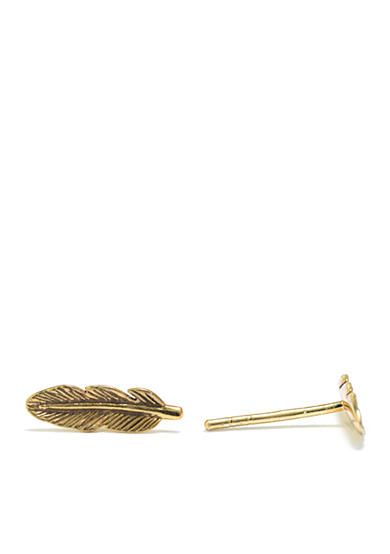 evie & emma Gold Over Sterling Silver Feather Stud Earring