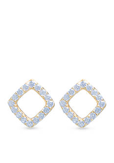 evie & emma Gold Open Square Stud Earrings